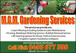 Mgm gardening services